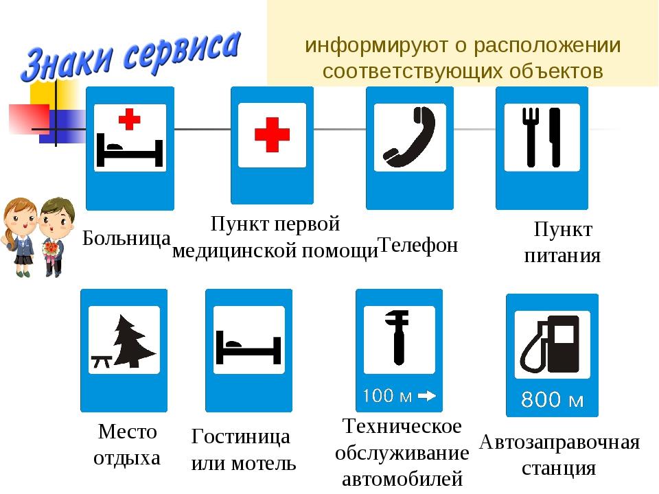 информируют о расположении соответствующих объектов Больница Пункт первой мед...