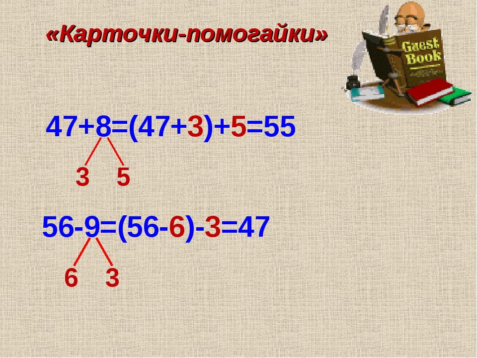 47+8=(47+3)+5=55 «Карточки-помогайки» 3 5 56-9=(56-6)-3=47 6 3