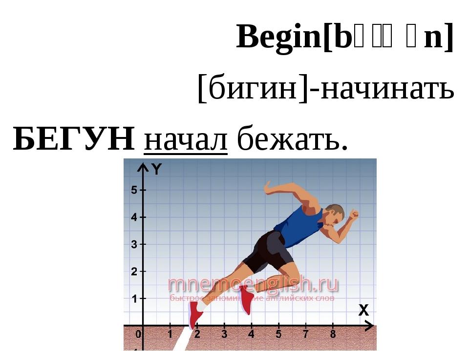 Begin[bɪˈɡɪn] [бигин]-начинать БЕГУН начал бежать.