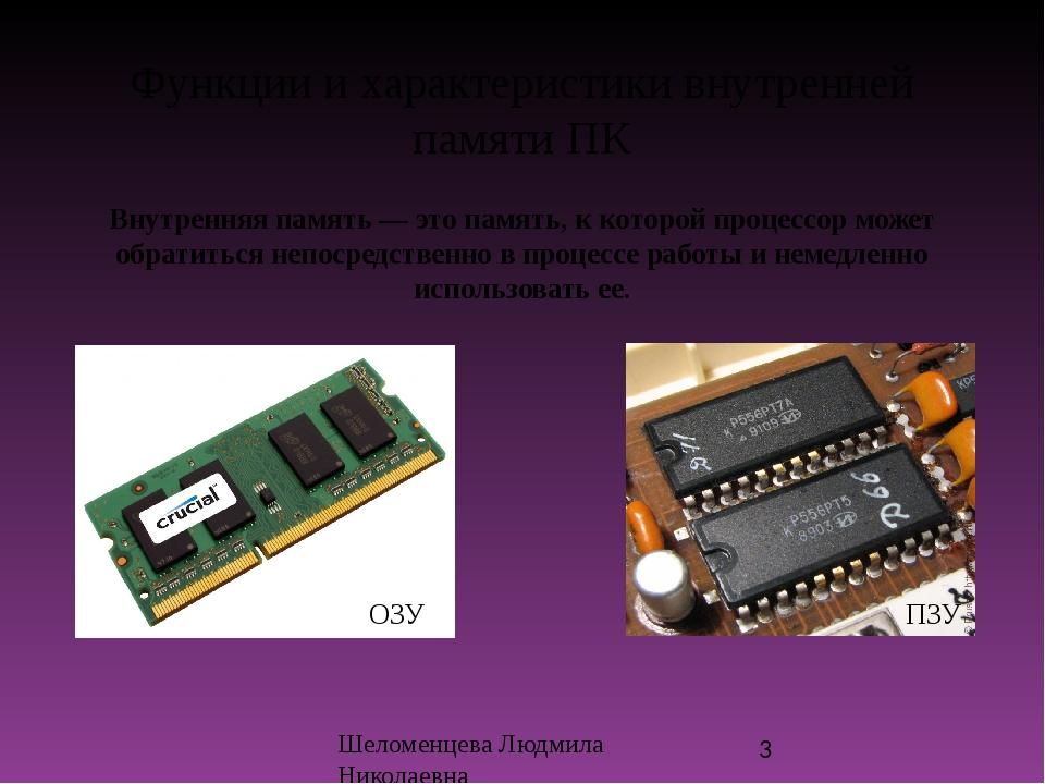 Функции и характеристики внутренней памяти ПК Внутренняя память — это память,...