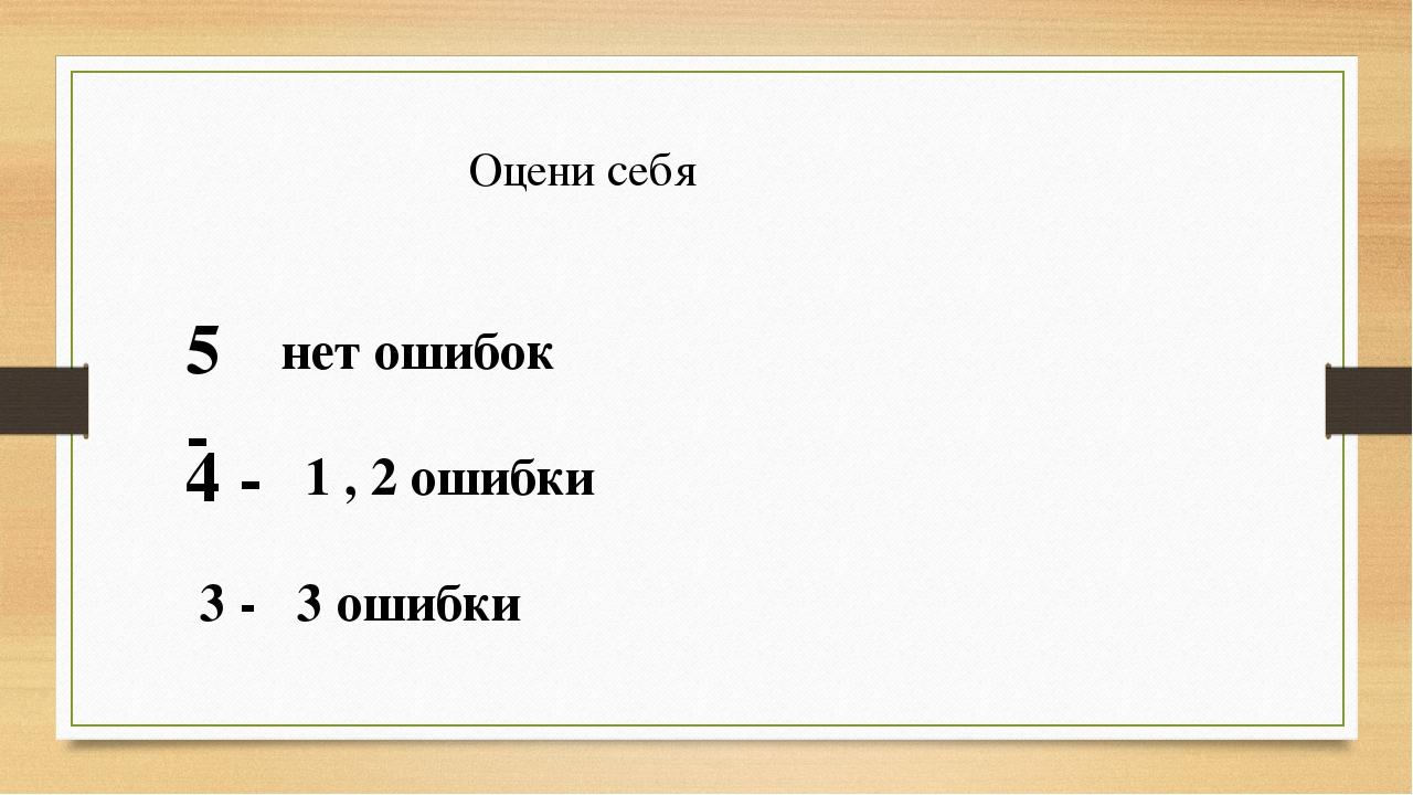 Оцени себя 5 - нет ошибок 4 - 1 , 2 ошибки 3 - 3 ошибки