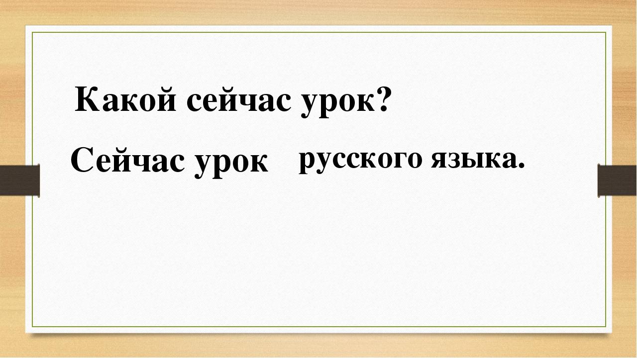 Какой сейчас урок? Сейчас урок русского языка.