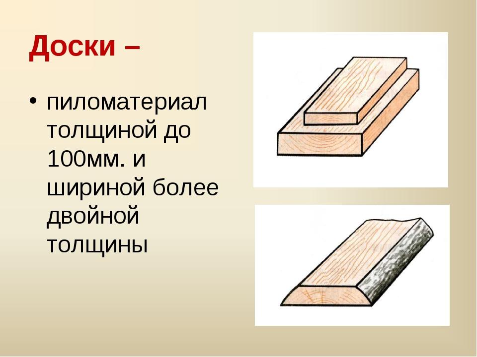 Доски – пиломатериал толщиной до 100мм. и шириной более двойной толщины