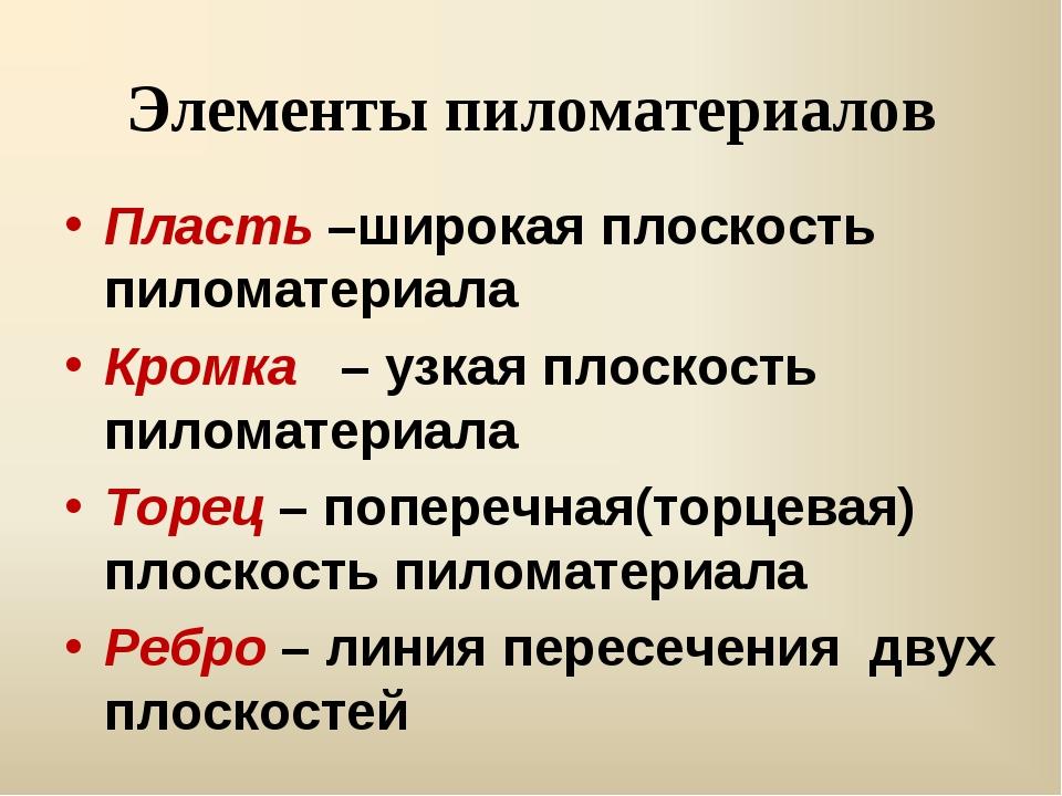 Элементы пиломатериалов Пласть –широкая плоскость пиломатериала Кромка – узка...