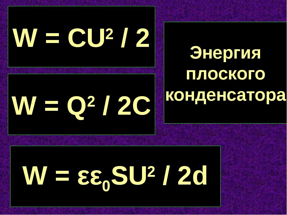 W = CU2 / 2 W = Q2 / 2C W = εε0SU2 / 2d Энергия плоского конденсатора