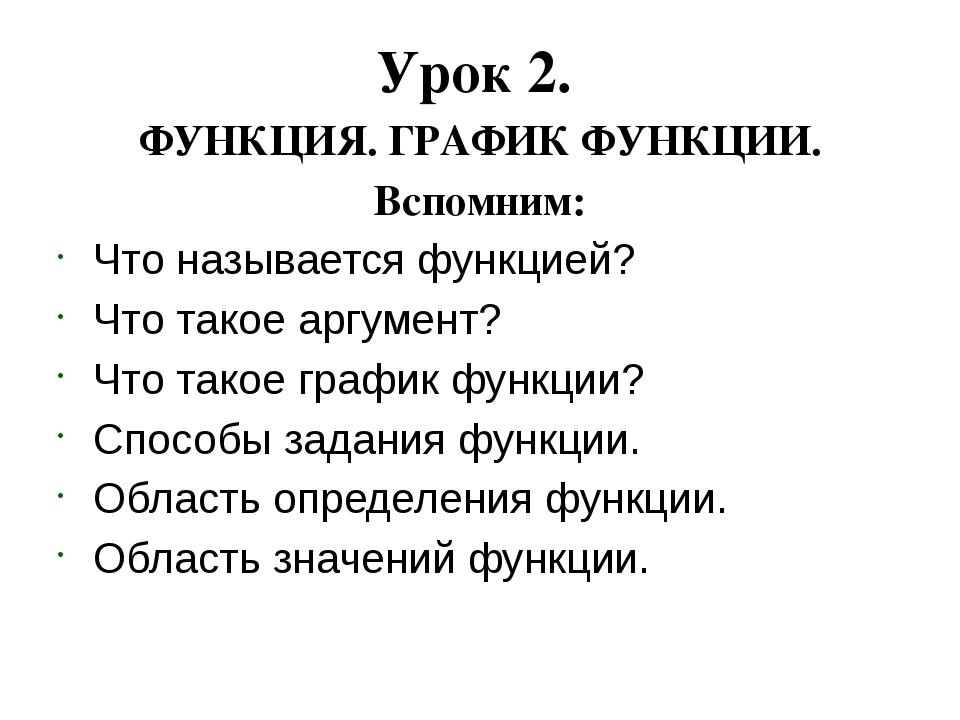 Урок 2. ФУНКЦИЯ. ГРАФИК ФУНКЦИИ. Вспомним: Что называется функцией? Что такое...