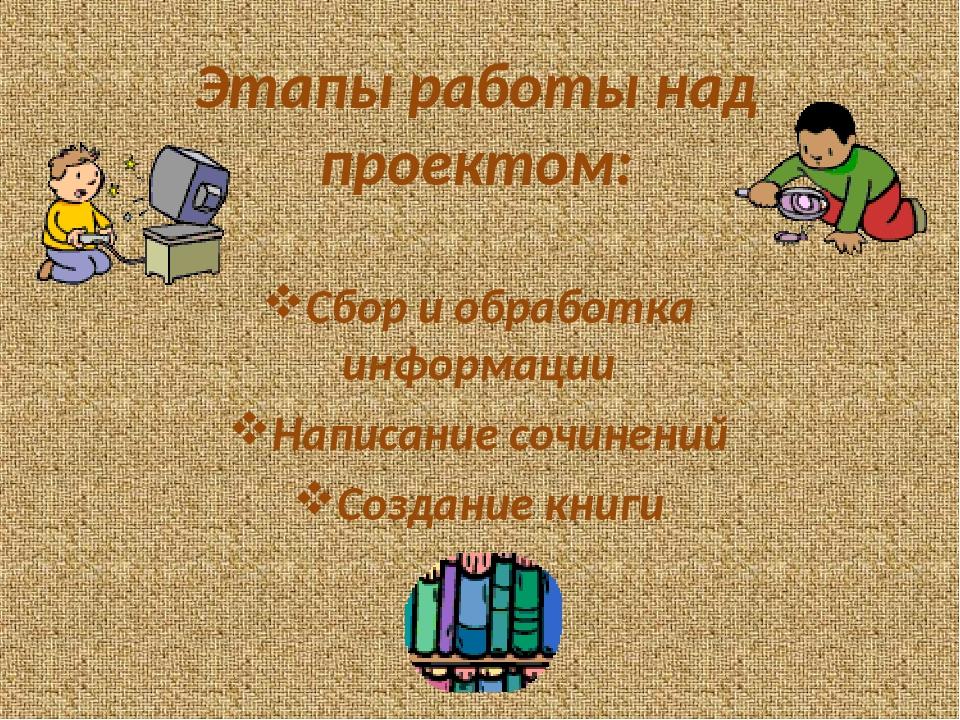 Этапы работы над проектом: Сбор и обработка информации Написание сочинений Со...