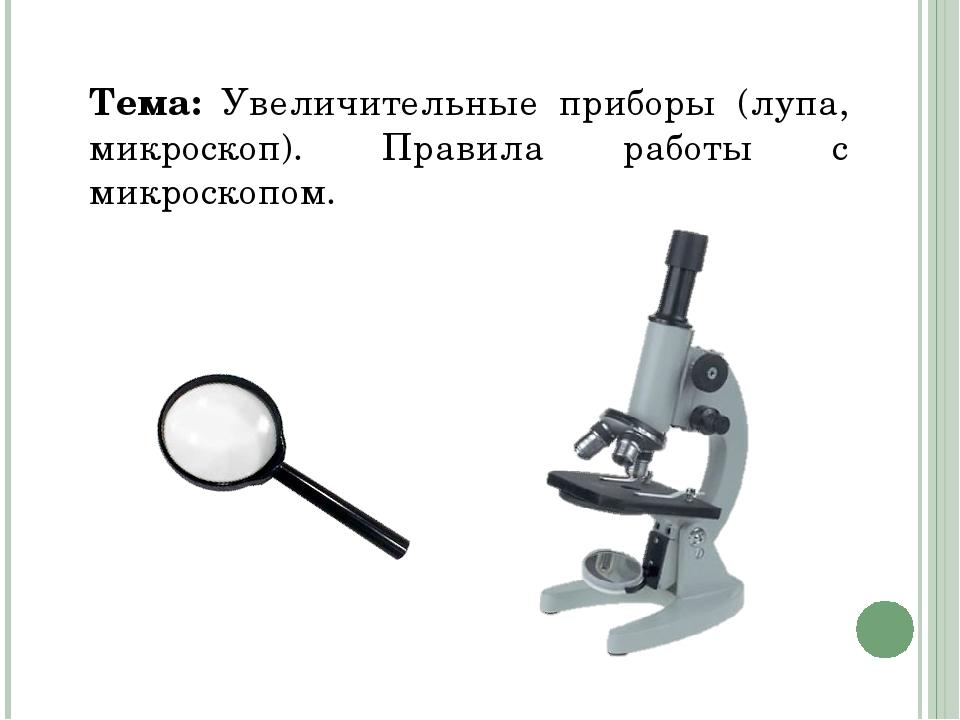 Тема: Увеличительные приборы (лупа, микроскоп). Правила работы с микроскопом.