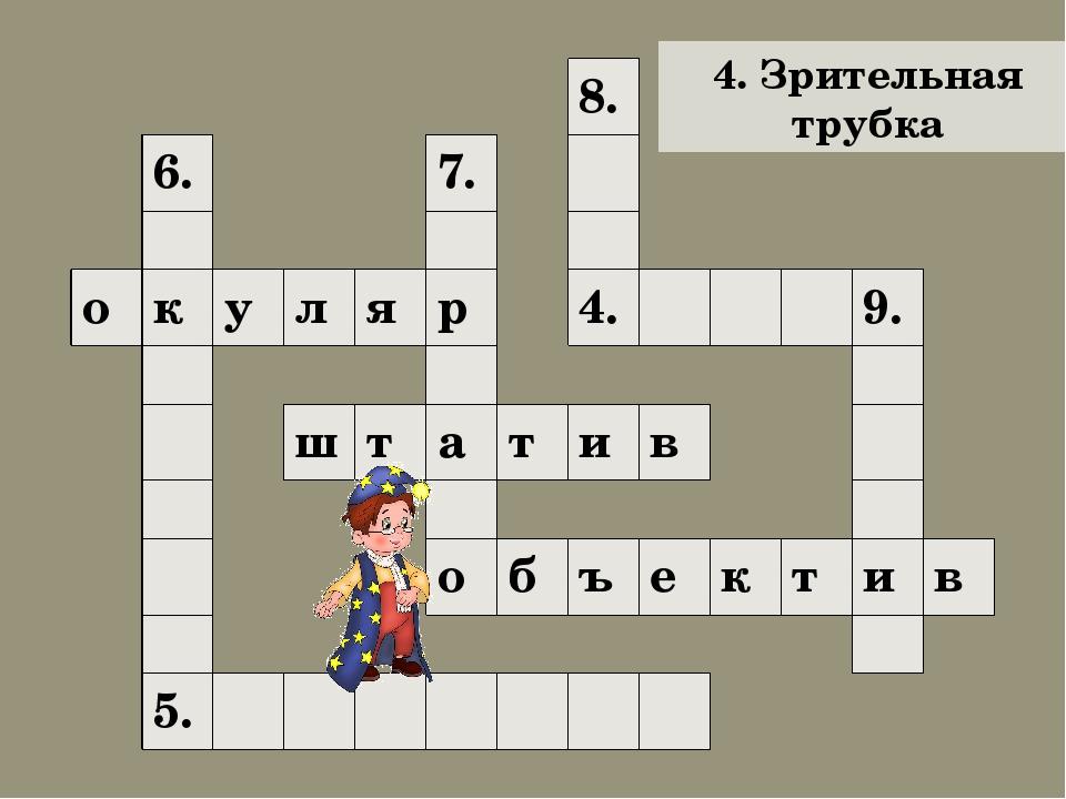 4. Зрительная трубка 8. 6. 7. о к у л я р 4. 9. ш т а т и в о б ъ е к т и в 5.