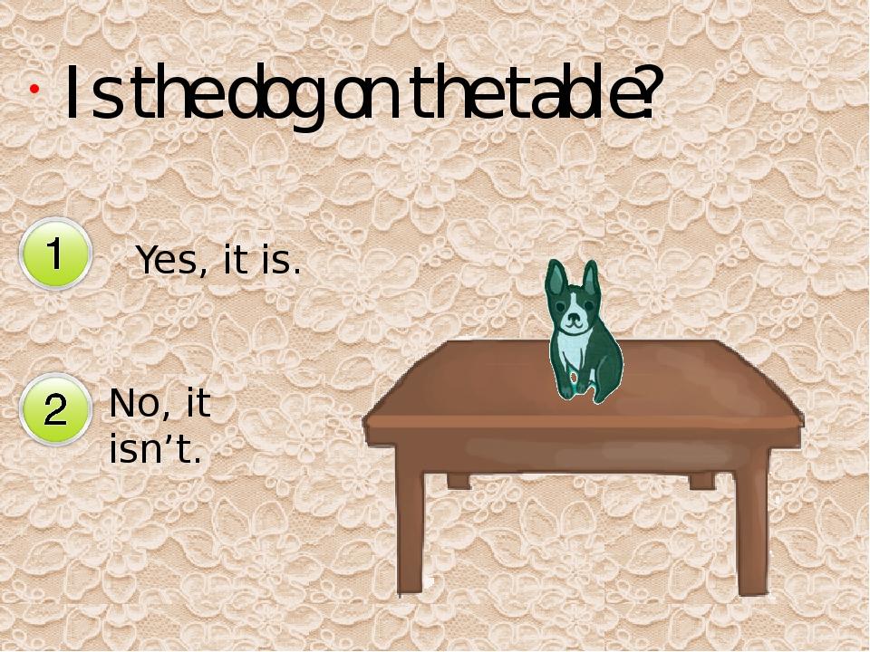 Is the dog on the table? Yes, it is. No, it isn't. Да Нет