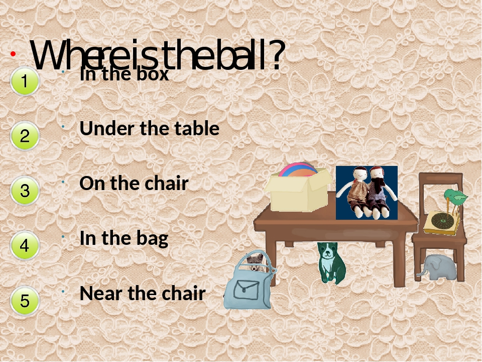 Where is the ball? In the box Under the table On the chair In the bag Near th...