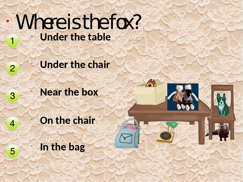 Near the box Where is the fox? Under the table Under the chair On the chair I...