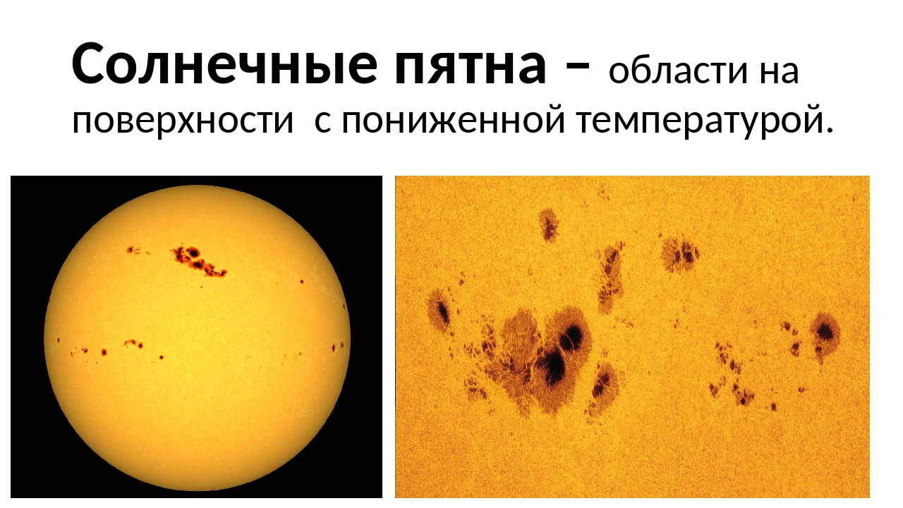 Солнечные пятна – области на поверхности с пониженной температурой.