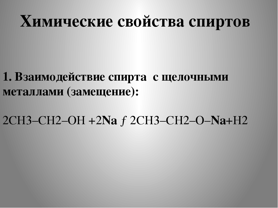 Химические свойства спиртов 1. Взаимодействие спирта с щелочными металлами (з...