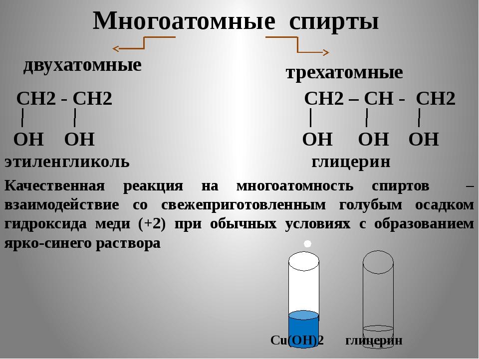 Cu(OH)2 глицерин Многоатомные cпирты СН2 - СН2 ОН ОН этиленгликоль СН2 – СН...