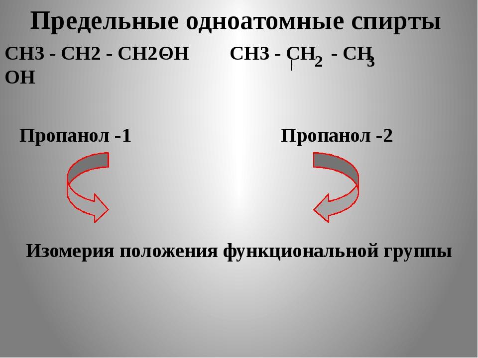 Предельные одноатомные cпирты СН3 - СН2 - СН2 - ОН СН3 - СН - СН 2 3 ОН Пропа...