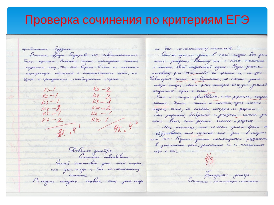 Проверка сочинения по критериям ЕГЭ