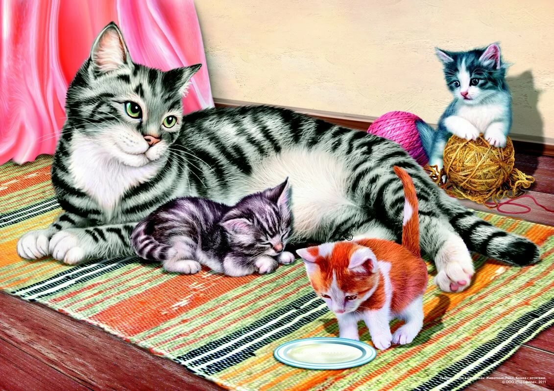 Кошка с котятами картинки для детей ушакова