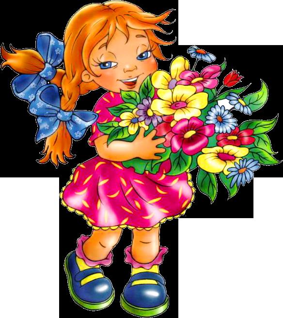 Картинка ребенок с цветами на прозрачном фоне