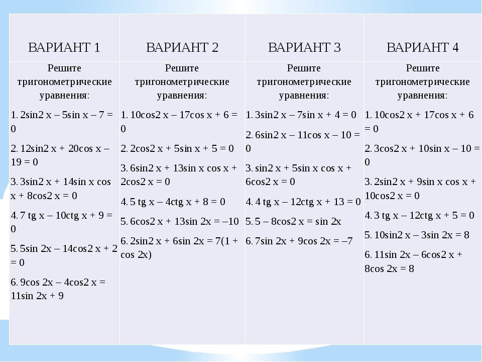 ВАРИАНТ 1 ВАРИАНТ 2 ВАРИАНТ 3 ВАРИАНТ 4 Решите тригонометрические уравнения:...