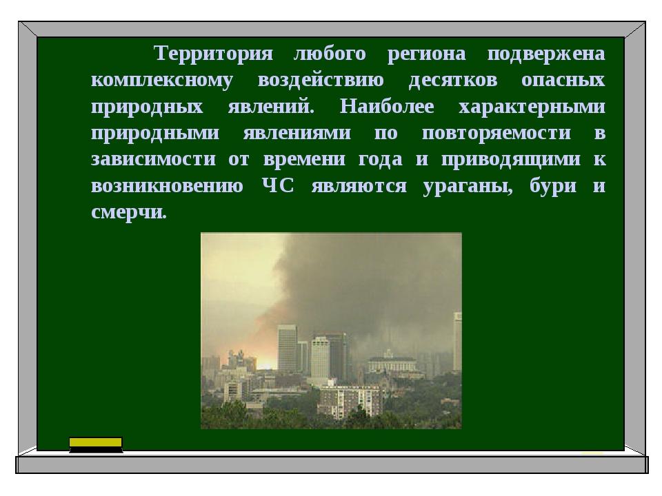 Территория любого региона подвержена комплексному воздействию десятков опасн...