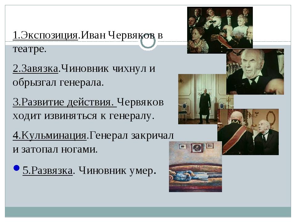 1.Экспозиция.Иван Червяков в театре. 2.Завязка.Чиновник чихнул и обрызгал ге...
