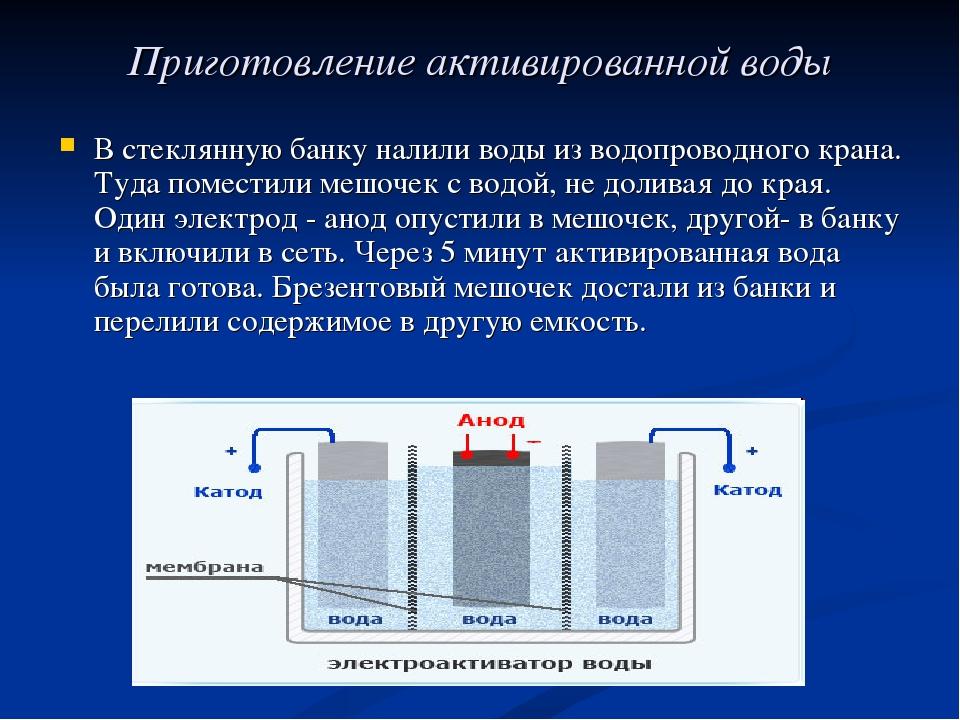 Приготовление активированной воды В стеклянную банку налили воды из водопрово...