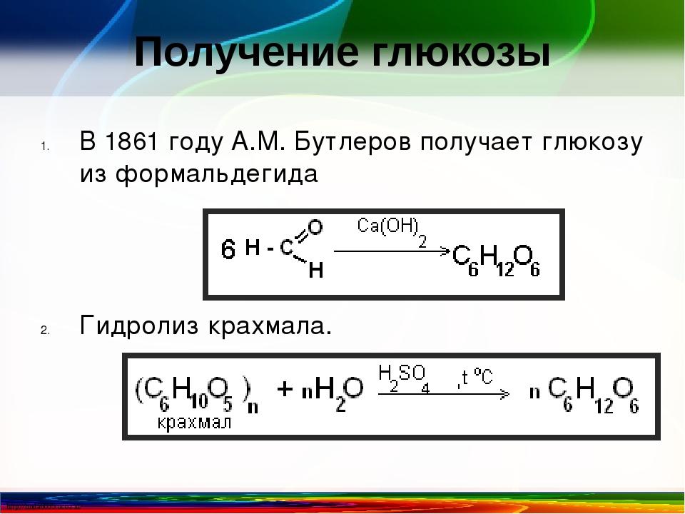 Получение глюкозы В 1861 году А.М. Бутлеров получает глюкозу из формальдегида...