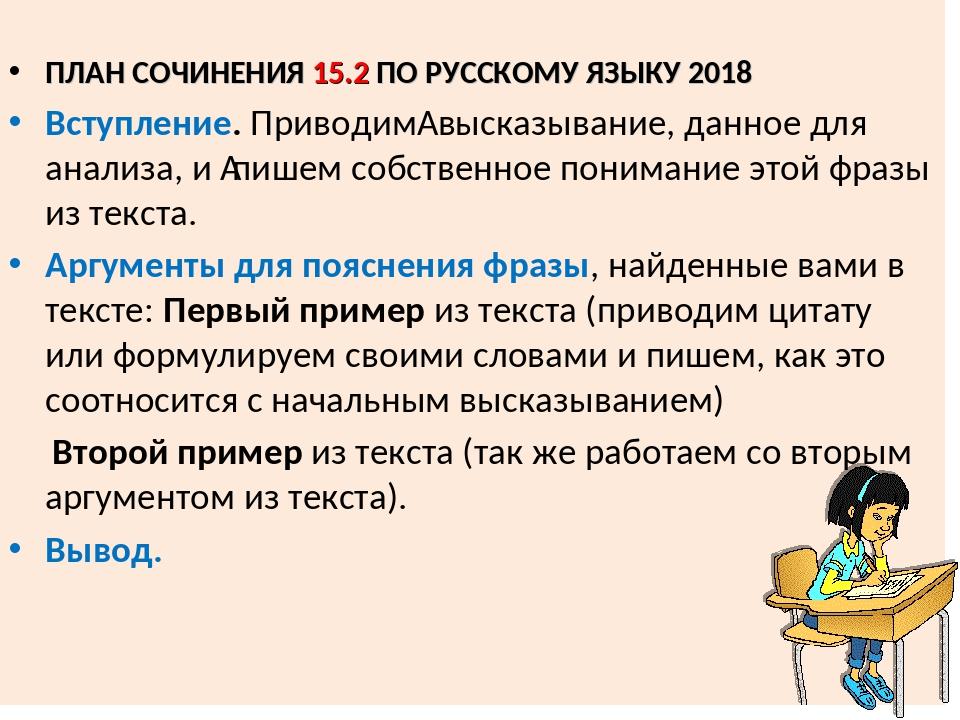 ПЛАН СОЧИНЕНИЯ 15.2 ПО РУССКОМУ ЯЗЫКУ 2018 Вступление. Приводим высказывани...