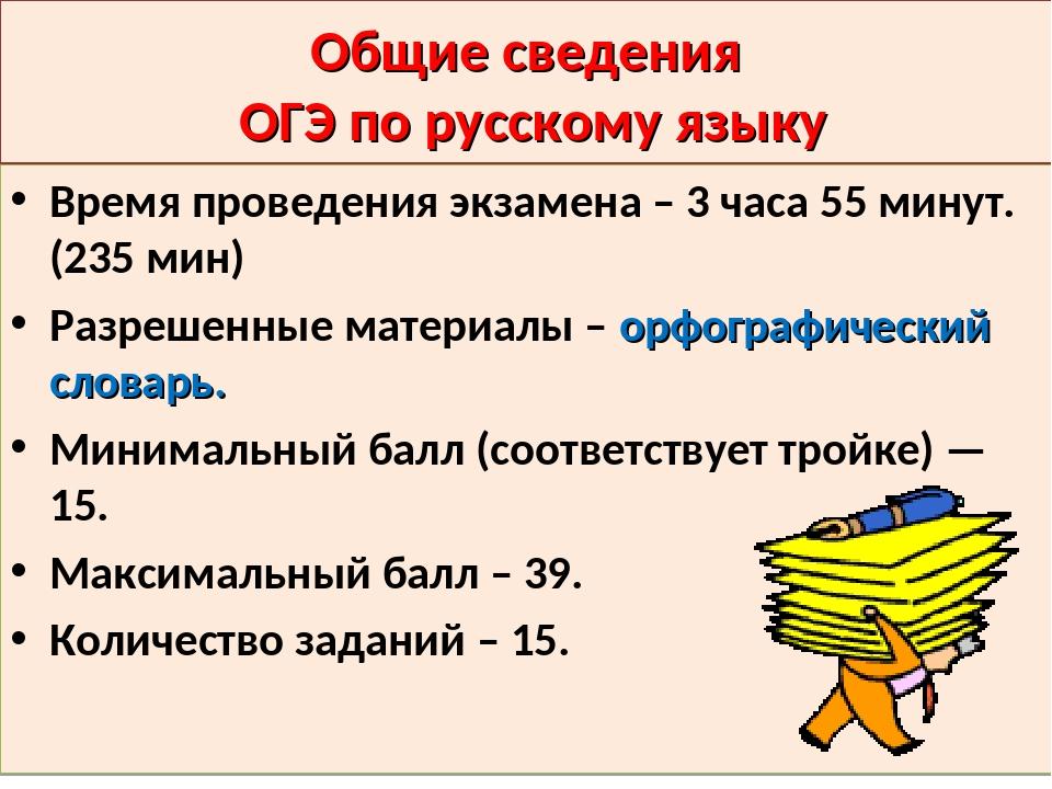 Общие сведения ОГЭ по русскому языку Время проведения экзамена – 3 часа 55 м...