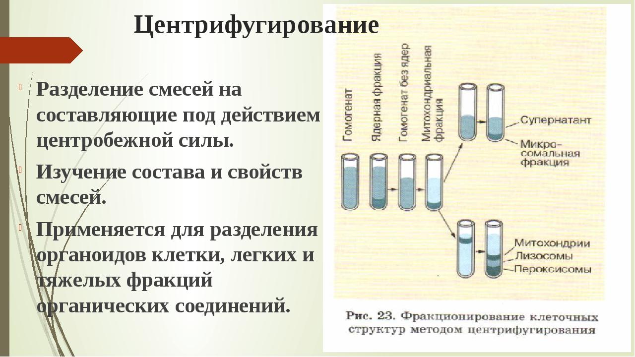 Центрифугирование Разделение смесей на составляющие под действием центробежно...