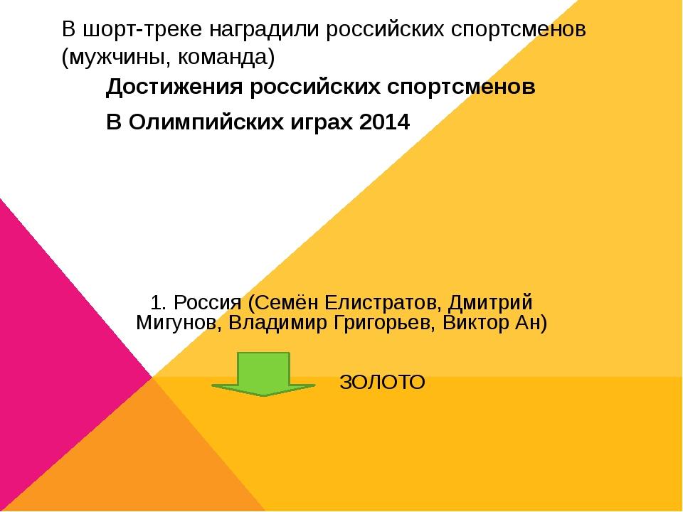 В шорт-треке наградили российских спортсменов (мужчины, команда) 1. Россия (С...