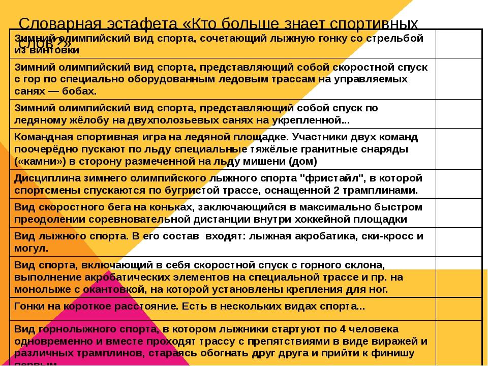 Словарная эстафета «Кто больше знает спортивных слов?» Зимний олимпийский вид...