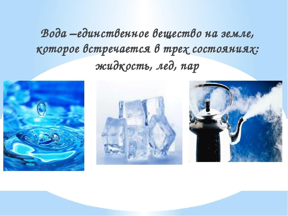 Вода –единственное вещество на земле, которое встречается в трех состояниях:...