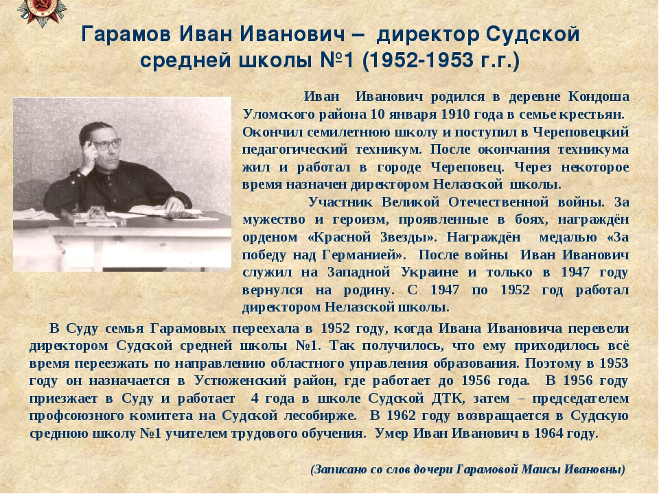 Гарамов Иван Иванович – директор Судской средней школы №1 (1952-1953 г.г.) Ив...