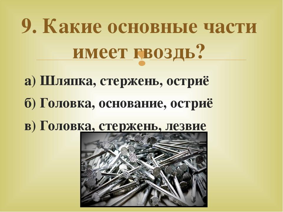 а) Шляпка, стержень, остриё б) Головка, основание, остриё в) Головка, стержен...