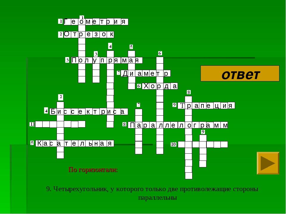 9. Четырехугольник, у которого только две противолежащие стороны параллельны...