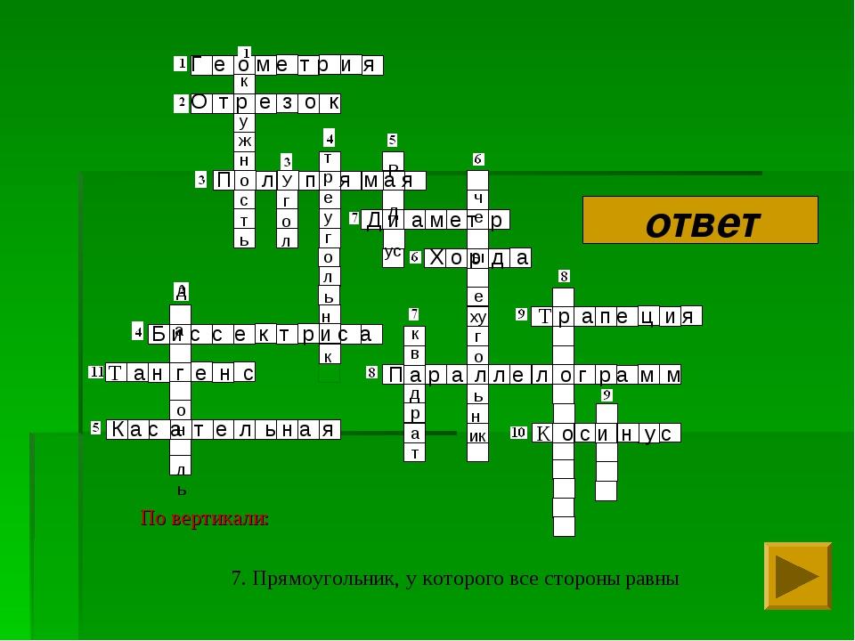 7. Прямоугольник, у которого все стороны равны Г е о м е т р и я О т р е з о...