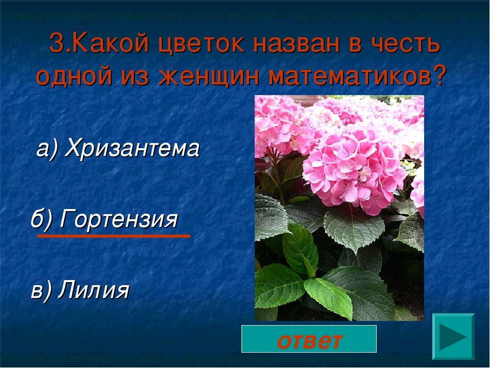 3.Какой цветок назван в честь одной из женщин математиков? а) Хризантема б) Г...