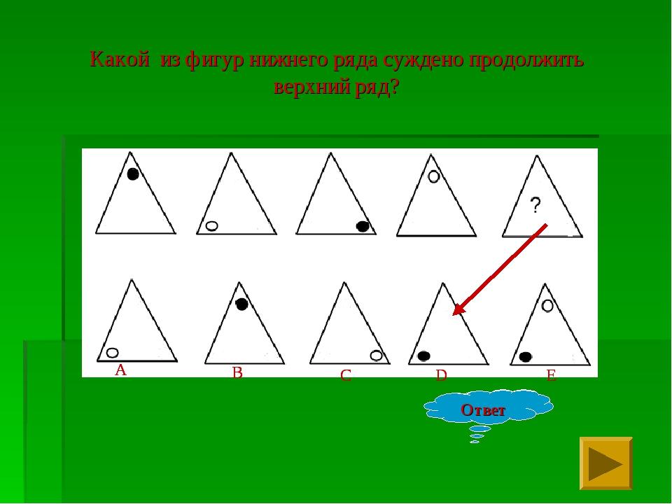 Какой из фигур нижнего ряда суждено продолжить верхний ряд? Ответ E D C A B О...