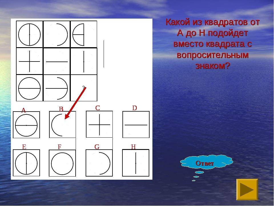 Какой из квадратов от A до H подойдет вместо квадрата с вопросительным знаком...