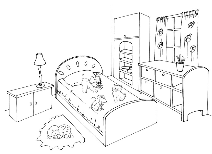 Картинки мебели раскраски комната