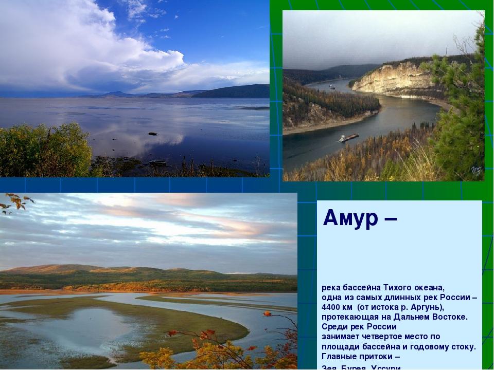 Амур – река бассейна Тихого океана, одна из самых длинных рек России – 4400 к...