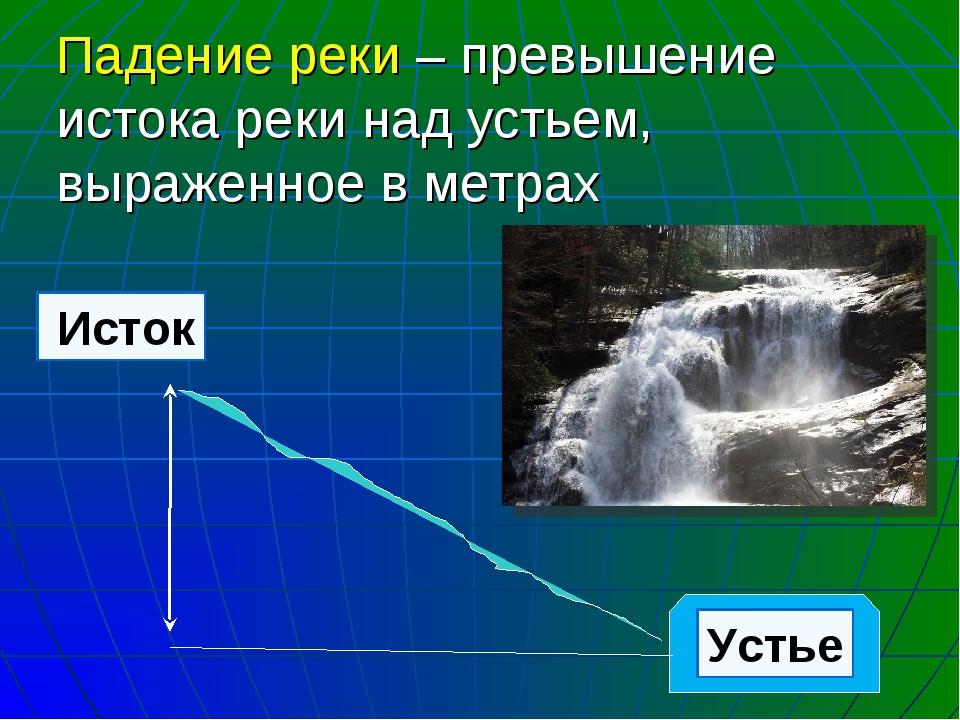 Падение реки – превышение истока реки над устьем, выраженное в метрах Исток У...