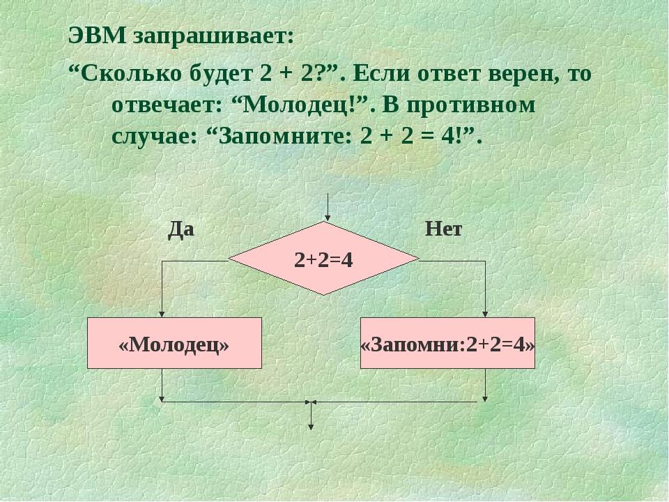 """ЭВМ запрашивает: """"Сколько будет 2 + 2?"""". Если ответ верен, то отвечает: """"Моло..."""