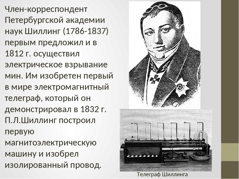 Член-корреспондент Петербургской академии наук Шиллинг (1786-1837) первым пре...