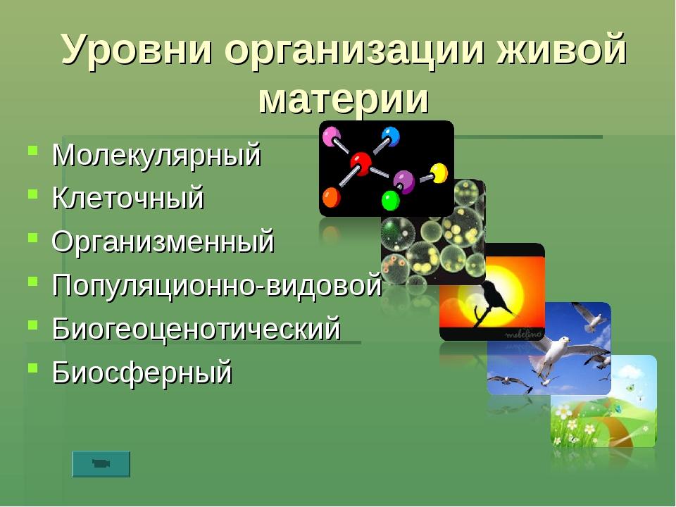 Уровни организации живой материи Молекулярный Клеточный Организменный Популяц...