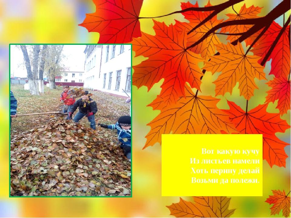 Вот какую кучу Из листьев намели Хоть перину делай Возьми да полежи.