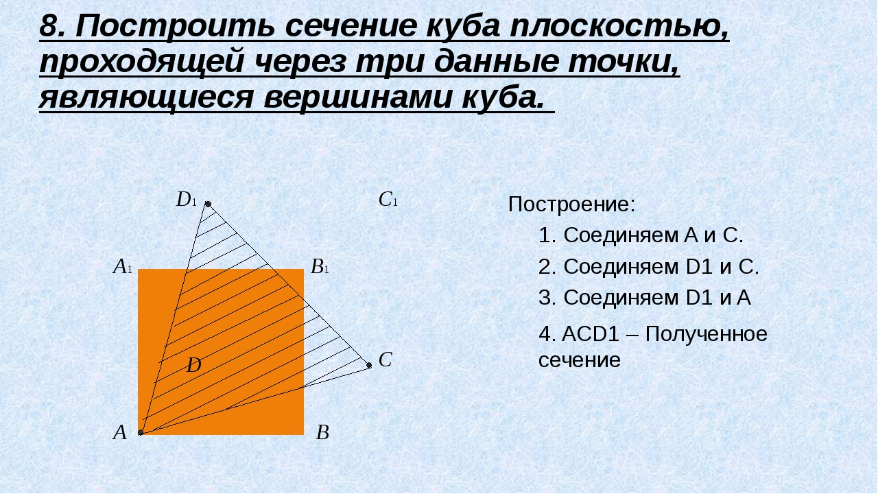 D1 C1 B1 A1 D C B A 8. Построить сечение куба плоскостью, проходящей через т...