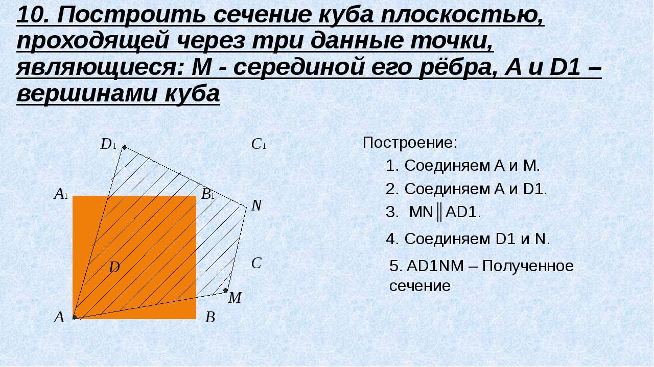 A B C D A1 B1 C1 D1 M N 10. Построить сечение куба плоскостью, проходящей че...